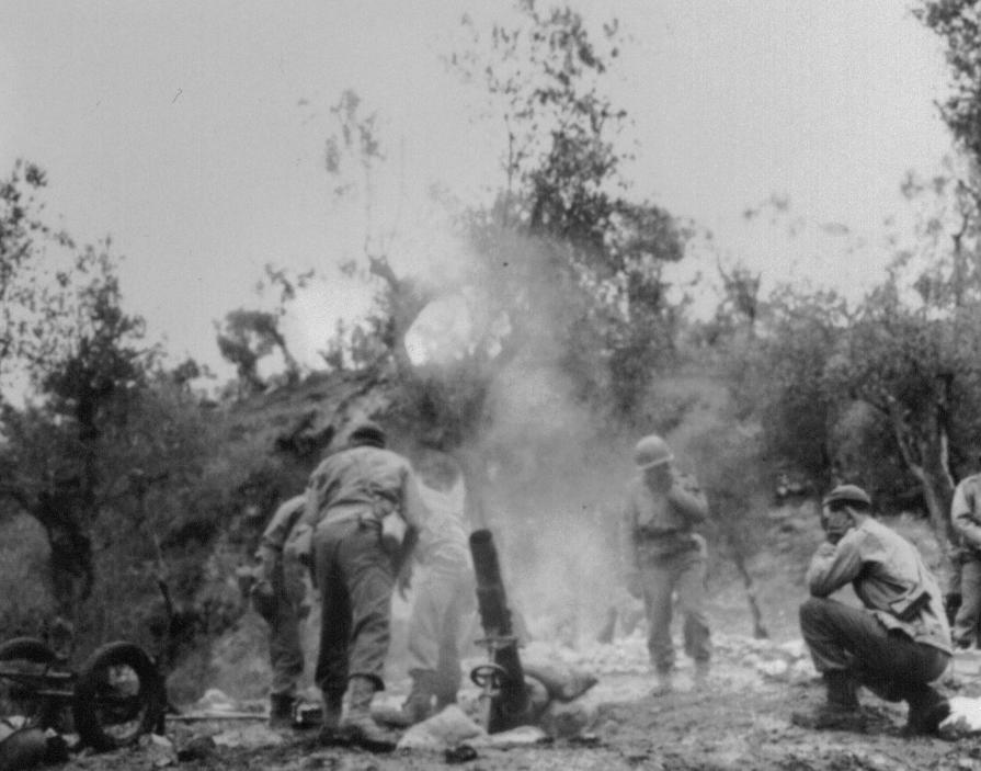 4.2 inch chemical mortar in action, 2nd Chemical Mortar Battalion